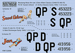 Kitsworld Kitsworld American Nose Art P51 B/D Mustang - 1/32 Scale Decal Sheet KW132006  'Sweet Arlene' - 'Jan'