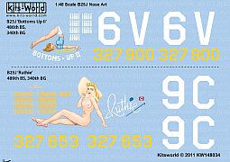 Kitsworld Kitsworld 'B-25 Mitchell' 1/48 Scale Decal Sheet KW148034  B-25J  486th BS, 340th BG 43-27900/6V 'Bottoms Up II' 489th BS 340th BG 43-27653/9C 'Ruthie'