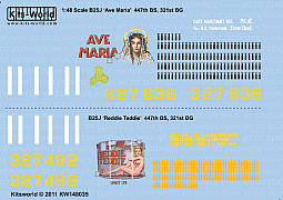 Kitsworld Kitsworld 'B-25 Mitchell' 1/48 Scale Decal Sheet KW148035  B-25J  447th BS, 321st BG 43-27636/II 'Ave Maria' 43-27492/II 'Reddie Teddie'