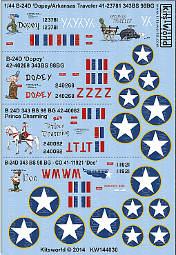 Kitsworld Kitsworld  - 1/144 Scale Decal Sheet B-24D Liberators KW144030 Snow White  Squadron~