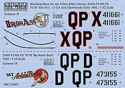 Kitsworld Kitsworld American Nose Art P51 Mustang - 1/32 Scale Decal Sheet