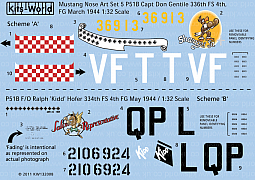 Kitsworld Kitsworld American Nose Art P51B Mustang -  1/32 Scale Decal Sheet