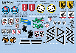 Kitsworld Kitsworld 'Luftwaffe Geschwader Insignia' 1/32 Scale Decal Sheet KW132015 Luftwaffe Geschwader Insignia