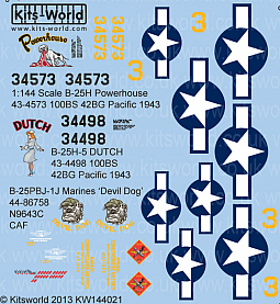 Kitsworld Kitsworld  - 1/144 Scale B-25 Mitchell Decal Sheet