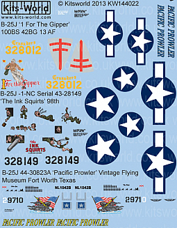 Kitsworld Kitsworld  - 1/144 Scale B-25 Mitchell Decal Sheet KW144022