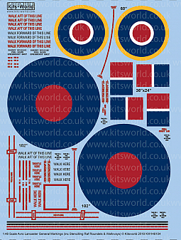 Kitsworld Kitsworld  - 1/48 Scale Avro Lancaster Stencilling and RAF Roundels KW148104 Avro Lancaster General Markings~