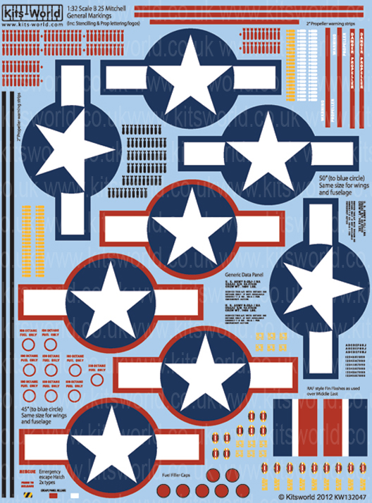 stars and bars Decalset Kits World 132047-1:32 B25 General stencilling
