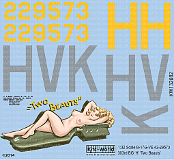 Kitsworld Kitsworld  - 1/32 Scale Boeing B-17G Flying Fortress Decal Sheet