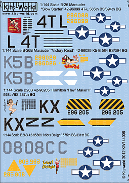 Kitsworld Kitsworld  - 1/144 Scale Decal Sheet B-26 Marauders KW144006