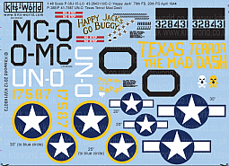 Kitsworld Kitsworld  - 1/48 Scale Decal Sheet P-38 Lightning KW148073