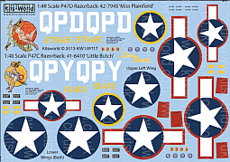 Kitsworld 1/48 Scale P-47C/D Razorback Decal Sheet