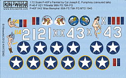 Kitsworld Kitsworld  - 1/72 Scale Decal Sheet Curtiss P-40 Warhawks KW172060