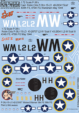 Kitsworld Kitsworld  - 1/72 Scale Decal Sheet P-38 Lightning