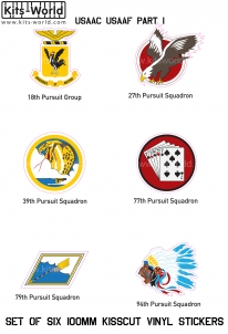 Kitsworld Kitsworld  - USAAF- Fighters Set 1- Self-adhesive vinyl transfers USAAC - USAAF- Fighters- Self-adhesive vinyl Squadron badges
