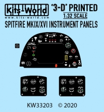 Kitsworld Kitsworld  - 1/32 Scale Spitfire MKIX /XVI Cockpit Instrument Panel KW33203 P-47 Cockpit Instrument Panel  (Revell - Tamiya Fit)